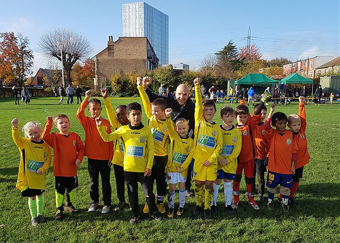 Colliers Wood Little League Football received a donation from Embassy of Man of £1,050 to cover Council fees for marking and maintaining the pitch.